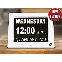 Dementia Digital Day Calendar Clock w/ Non-Abbreviated Displaying The Day Month Time Year & Date Glare-Free - Perfect For Visually Impaired Senior Living Offices Home (Clock w/ Dry Erase Planner)