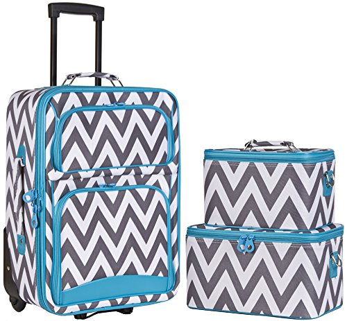 Ever Moda Blue Grey Chevron 3 Piece Carry On Rolling Luggage Set