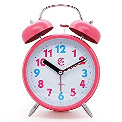JCC 4 Twin bell Quartz Analog Silent non ticking sweep second hand bedside alarm clock with Nightlight and Loud Alarm (Pink)