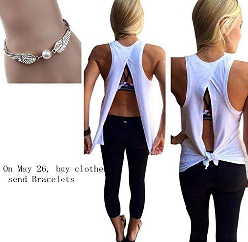 Usstore Women Cotton Blend Sleeveless T-shirts Vest Crop Tank Tops Strap Blouse (M)