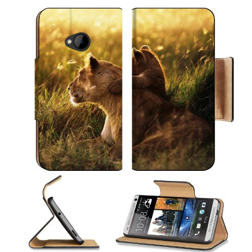 Lion Lion Cub Family Cub Caring Baby Sunshine Htc One M7 Flip Cover Case With Card Holder Customized Made To Order Support Ready Premium Deluxe Pu Leather 5 11/16 Inch (145Mm) X 2 15/16 Inch (75Mm) X 9/16 Inch (14Mm) Liil Htc One Professional Cases Access front-150628