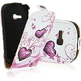 Electro-Weideworld Neu Leder Tasche für Samsung Galaxy Fame Lite S6790 Flip Magnet Case Schutz Hülle Cover Etui Handy Schale mit Heaz