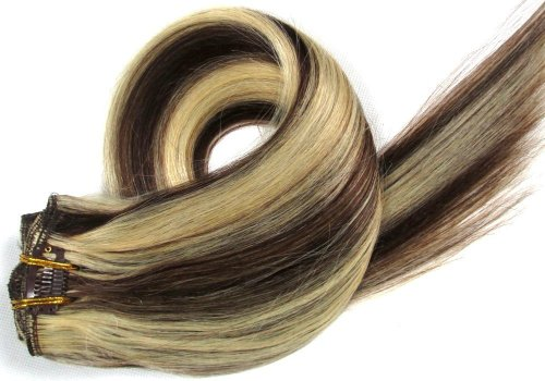 15 Inch 7Pcs Remy Clips In Human Hair Extensions 70Gr With Clips For Highlight Or Full Head