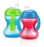 Nûby Clik-It Grip N' Sip Cup with Handles (2 Pack, Boy Colours)