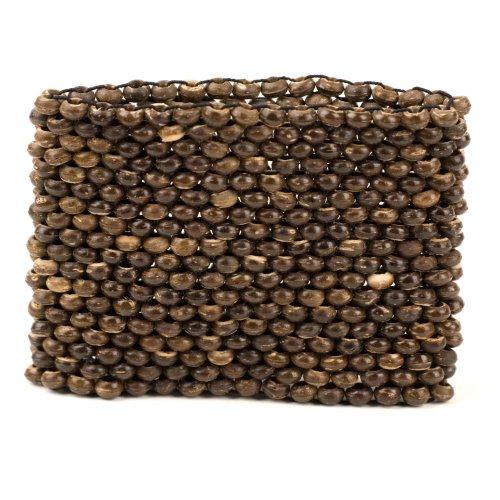 Brown bead strand stretch wood coconut bracelet by 81stgeneration