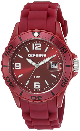 Cepheus Men's Quartz Watch with Red Dial Analogue Display and Red Silicone Strap CP603-044-1