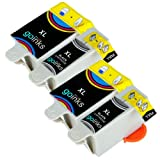 2 Compatible Sets of Black & Colour Printer Ink Cartridges to replace Advent ABK10 & ACLR10 (4 Inks) for use with Advent A10 All-in-One, AW10 Wireless All-in-One, AWP10 Wireless All-in-One