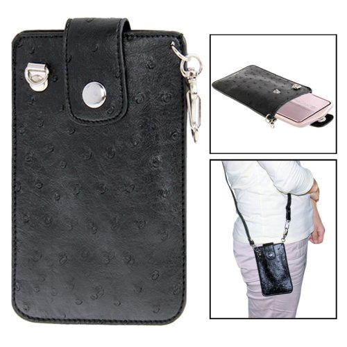 ostrich-skin-texture-mini-leather-camera-bag-with-strap-for-casio-tr150-tr200-tr350-black