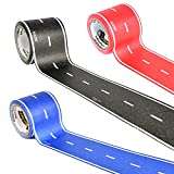 PlayTape Classic Road 3 Pack - Instantly Create your Own Roads Anytime, Anywhere - For All Kids Who Love Cars & Trains - Perfect for Birthday Gifts & Endless Fun (Red, Blue & Black Road 30'x2
