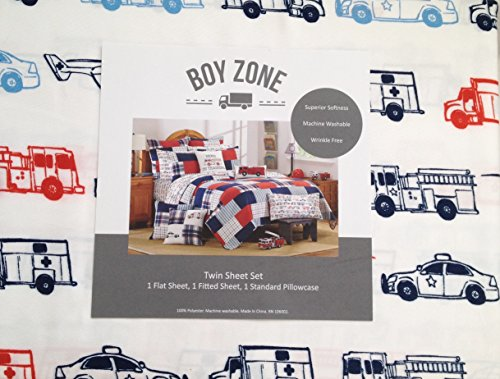 Boy Zone Red and Blue Fire Trucks, Police Cars and Helicopters on White Boys Sheet Set, Twin