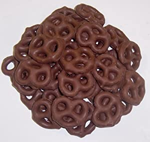 Scott's Cakes Chocolate Covered Pretzels in a 1 Pound Gold Stripes Bag