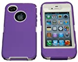 Multi Color Iphone 4 4S Body Armor Defender Silicone Hybrid Cove Hard Case, Three Layer Silicone PC Case Cover for iPhone 4 4S 4G, (Purple+White) Reviews