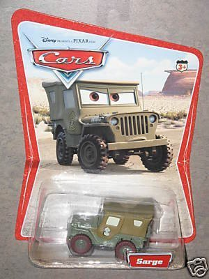 Disney Pixar Cars Movie Original Sarge Desert Background Card 16 Cars Pictured on Back Of Card Mattel 1:55 Scale