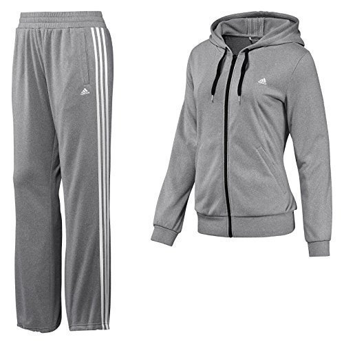 Adidas Women's Tracksuit Luna 3 Stripe Hooded Fleece Jog Suit X-Large Marl Grey
