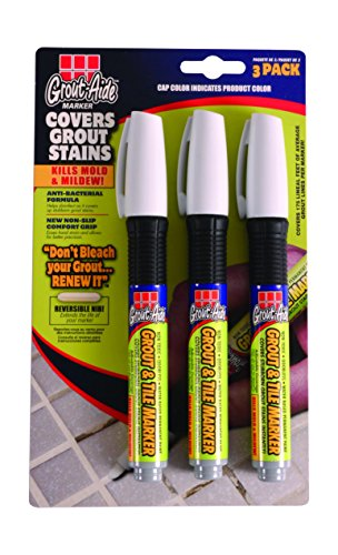 Grout-Aide 05034 Marker (3 Pack), 9.8ml, White (Grout Paint White compare prices)