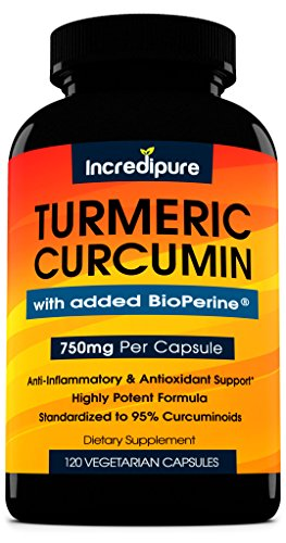 Turmeric Curcumin Supplement w/ BioPerine - 750mg Per Capsule, 120 Veggie Caps