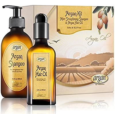After Straightening Argan Shampoo & Hair Oil Kit - Moroccan Salt Free Shampoo for Flat Iron Smoothing Straightened Hair 10.1 oz and Hair Shine Argan Oil 3.4 oz Set