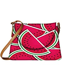 Snoogg Watermelon Wedge Background Card In Vector Format Womens Carry Around Sling Bags