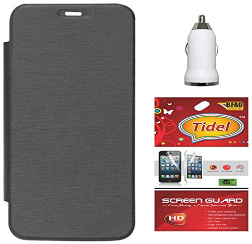 Tidel Black Premium Flip Cover For Micromax Bolt A71 With Tidel Screen Guard & USB Car Charger  available at amazon for Rs.249