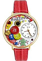 I Love Buttons Red Leather And Goldtone Watch #WG-G0410011