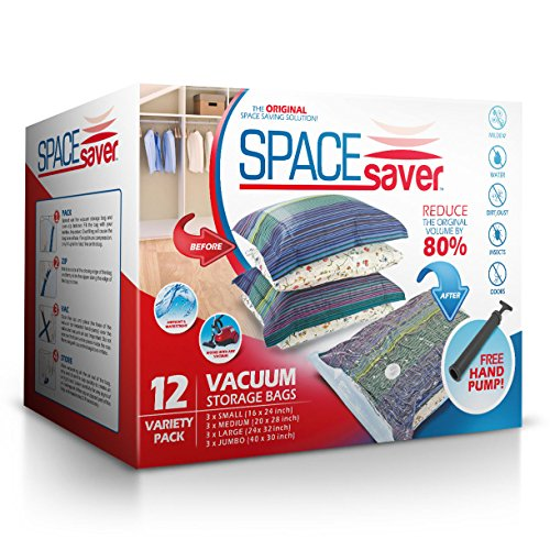 SpaceSaver Premium Vacuum Storage Bags (Lifetime Replacement Guarantee) Variety Pack (3 x Small, Medium, Large & Jumbo) 80% More Storage Than Other Brands! Free Hand-Pump For Travel! (Vacuum Bags Space Saver compare prices)