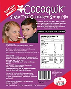 Cocoquik Sugar-free, Stevia Sweet, Chocolate Syrup Mix - 5 oz. 141 g by Chef G