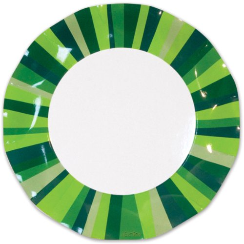 Green Stripe Large Plates, (10/Pkg)