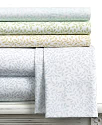 Martha Stewart Collection Bedding, Stenciled Leaves Twin Sheet Set Flax