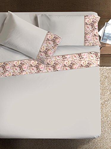 Ipersan Rose Armonie Completo con Bordo Fotografico, Cotone, Beige e Bordo Rosa, Matrimoniale