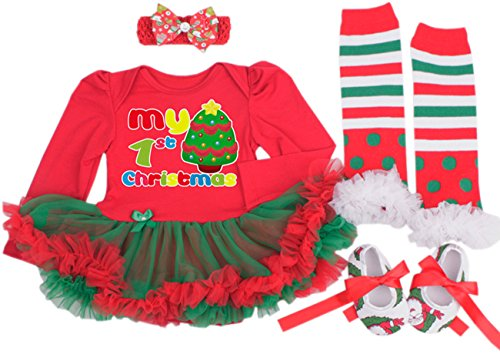 TANZKY® Baby Girl My First Christmas, Tutu Dress, Leggings, Hairband, Shoes (4pcs) - 1