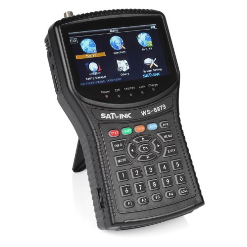 Satlink WS-6979 DVB-S2 & DVB-T2 Combo Digital Satellite Finder Spectrum Meter Analyzer, 4.3 Inch High Definition TFT LCD Screen