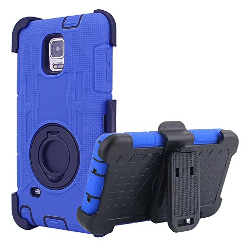 Note 4 Case, Samsung Note 4 Case, BENTOBEN Shockproof Hard & Soft Rubber Heavy Duty Case Cover With Kickstand Swivel Belt Clip Holster for Samsung Galaxy Note 4 N910 N910U N910V N910T, Dark Blue (Note 4 Protective Phone Case compare prices)