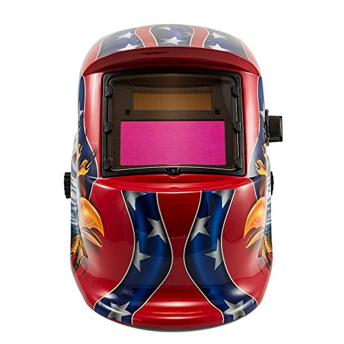 Imeshbean® Auto Darkening Welding Helmet Solar Powered Hood Mask Tn08E2 Grinding With Replaceable Lithium Battery Ansi Approved Eagle Design Color Blue Red Golden Usa Seller (Red)