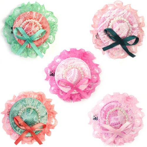 Wrapables Lace and Bow Mini Hat Hair Clip, Set of 5