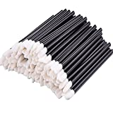 eBoot 100 Pieces Disposable Lip Brushes Lipstick Gloss Wands Applicator Makeup Tool Kits, Black