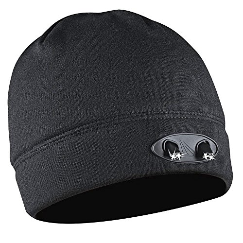 LED Beanie Hat - 4 Ultra Bright Lights - Luxury Compression Fleece - Black - Hands Free - Super Comfortable