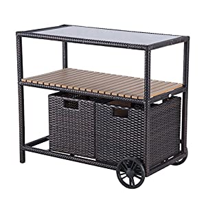 Outsunny Outdoor Rolling Rattan Wicker