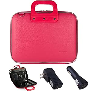 Pink Cady Executive Leather Hard Cube Carrying Case with Shoulder Strap For The Apple iPad (All Generations) + Car USB ChargerHome USB Charger