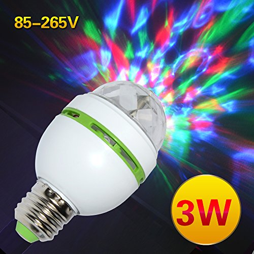 Sumger E27 3W 85-265v Colorful Auto Rotating RGB projector Crystal led Stage Light Magic Ball DJ party disco effect Bulb Lamp (Dj Lights Bulbs compare prices)