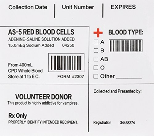 Amazlab Blood Pack IV Bag Labels Set of 20 (True Blood Pack compare prices)