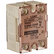 Omron G3NA-240B-DC5-24 Solid State Relay, Zero Cross Function, Yellow Indicator, Phototriac Coupler Isolation, 40 A Rated Load Current, 24 to 240 VAC Rated Load Voltage, 5 to 24 VDC Input Voltage