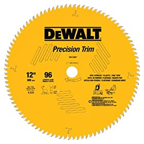 DEWALT DW7296PT Precision Trim 12-Inch 96 Tooth ATB Crosscutting Saw Blade with 1-Inch Arbor: Home Improvement
