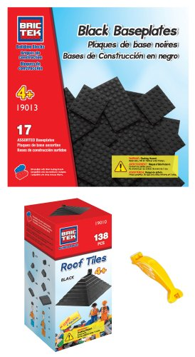 brictek-19010-black-roof-tiles-and-19013-black-baseplates-building-blocks-compatible-with-legos-with