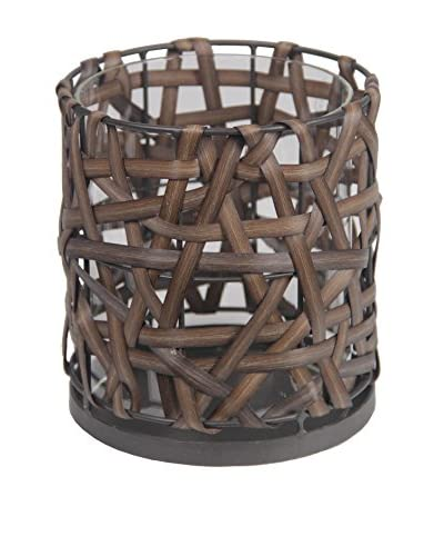 Privilege Medium Wicker Candleholder, Rusted