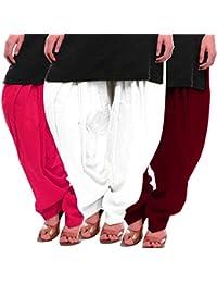 Women's Rani White-Maroon Cotton Patiala Salwar