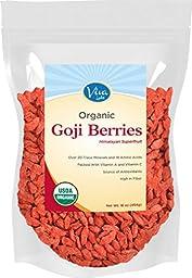 Viva Labs Premium Himalayan Organic Goji Berries, Noticeably Larger and Juicier, 1lb bag
