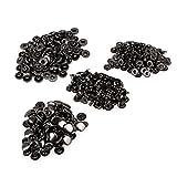 Black 12mm Dia Heavy Duty Metal Snap Fasteners 633 Press Stud Rivet Leathercraft Clothing DIY Tools Pack of 100