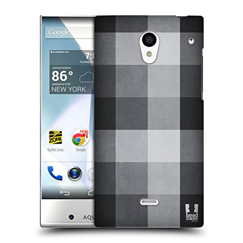 Head Case Designs ブラックグレー チェック・コレクション ハードバックケース Sharp Aquos Crystal 305SH