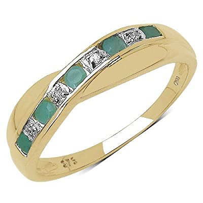 The Diamond Ring Collection: 9ct Gold Emerald & Diamond Channel Set Crossover Eternity Ring