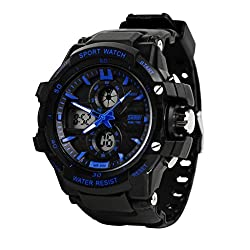 SKMEI Sports Series Dual Time with Calender Digital with Analog wrist watch - BLUE Dial - Mens Watch - 0990 BLU